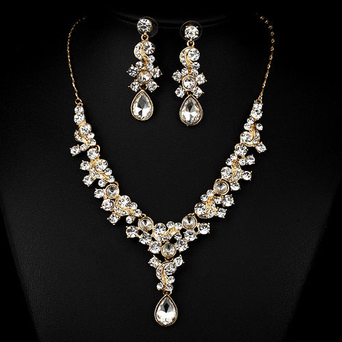 Glamorous Crystal Rhinestone Necklace Earrings Wedding Jewelry Set