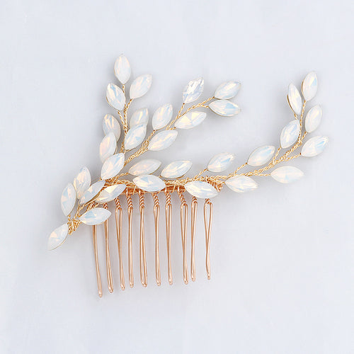 Gold Crystal Hair Comb Wedding Hair Jewelry Bridal Accessories Women Headwear