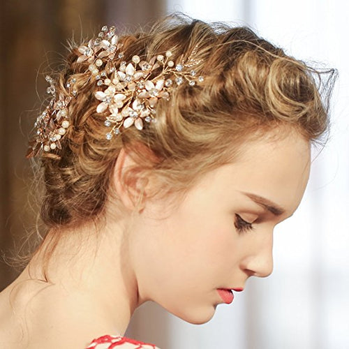 Golden Floral Hair Clips wedding hair accessories With Rhinestone Prom Accessories