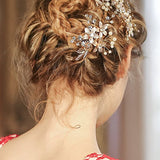 Golden Floral Hair Clips bridal hair accessories With Rhinestone Prom Accessories