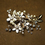 Golden Floral Hair Clips bridal headpieces With Rhinestone Prom Accessories