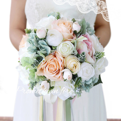 Home Wedding Bouquet - Artificial Roses Peony Lily Real Touch Bridal Holding Flowers