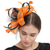 Wedding Bridal Looped Ribbon Net veil Feather Hair Clip Fascinator Kentucky Derby Cocktail Hat