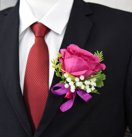 Large Boutonniere Real Touch Classic Artificial Silk Flower 4 Pack