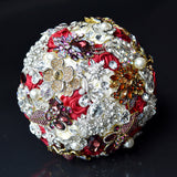 Luxurious Romantic Rose Flower Shiny Covered Diamond Wedding Bouquet Brooches