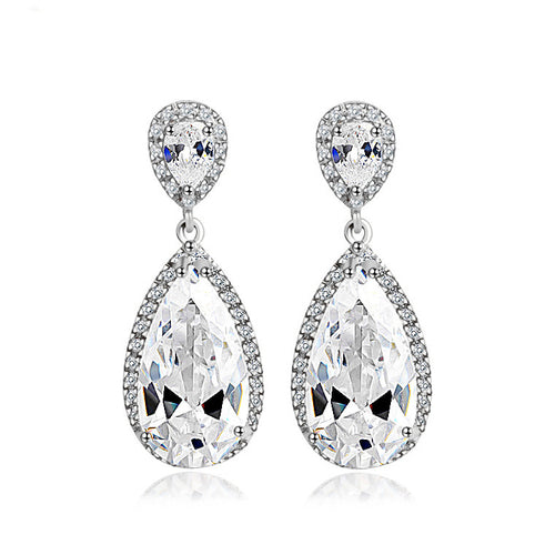 Luxury Drop Bridal Dangle Earrings AAA CZ White Gold Plated