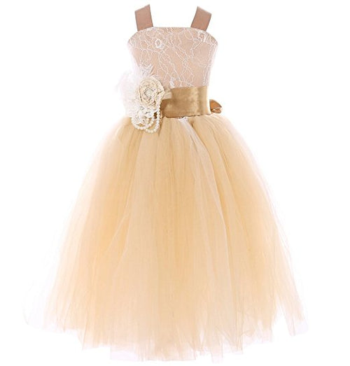 Pageant Wedding Flower Girl Dress Crossed Back Bow Feather Sash Fluffy