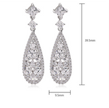 Pear-Shaped CZ Bridal Wedding Teardrop Dangle Earrings