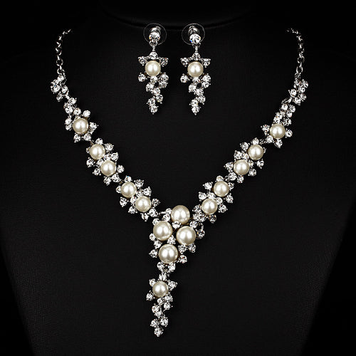 Pearl Necklace Earrings Wedding Jewelry Set