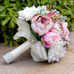 Peony Rose Dahlia Bridal Wedding Bouquet Bride Holding Flowers