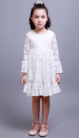 Princess Full Lace Flower Girl Dresses Lotus Sleeve