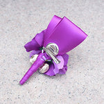 Purple Orchid Pink Rose Boutonniere for Guests on Prom Wedding Party