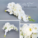 Real Touch White Calla Lily Artificial Flowers Teardrop-shaped Bride Bouquet
