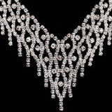 Rhinestone Beaded Choker Necklace Earrings Wedding Jewelry Sets for Brides