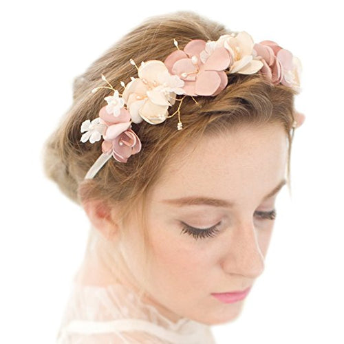 Romantic Silk Flowers Pearl Beaded Bridal Hairband