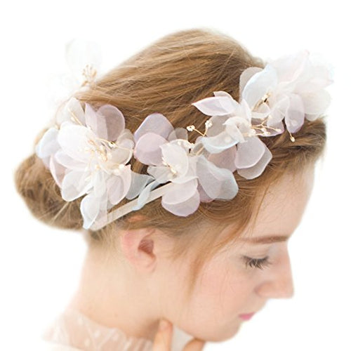 Romantic Silk Flowers Pearl Beaded Bridal Headbands