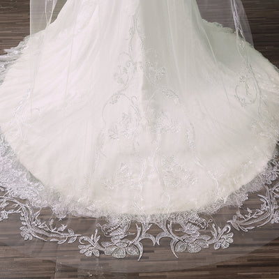Sequins Lace Edge Cathedral Long Bridal Wedding veil with Metal Comb