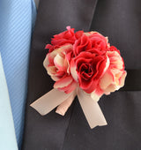 Silk Artificial Rose Boutonniere 4 Pack