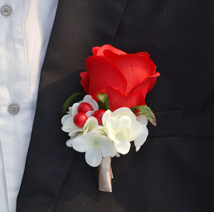 Silk rose boutonniere classic artificial groom flowers brooch with silk rose boutonniere classic artificial groom flowers brooch with pin and clip mightylinksfo