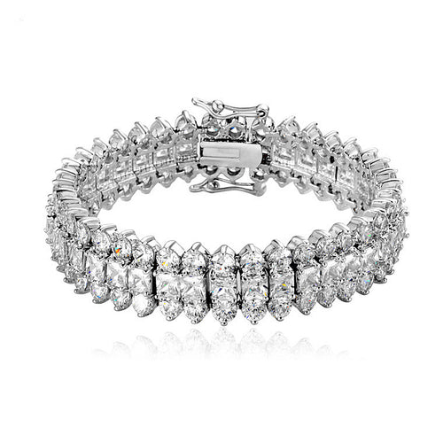Silver CZ Tennis Bracelet Luxury Gold Plated 18K