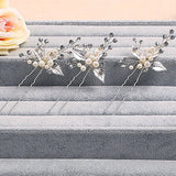 Silver Leaf Pearl Bridal Hair Pins bridal tiaras