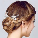 Silver Leaf Pearl Bridal Hair Pins bridal hair accessories