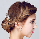 Silver Leaf Pearl Bridal Hair Pins bridal hair pieces