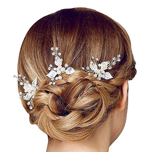 Silver Leaf Pearl Bridal Hair Pins
