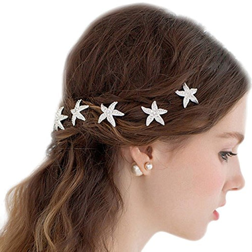 Silver Starfish Hair Pins wedding hair pins