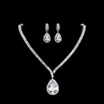 Silver Teardrop Clear Cubic Zirconia Crystal Rhinestone Drop Earrings and Necklace Bridal Jewelry Sets