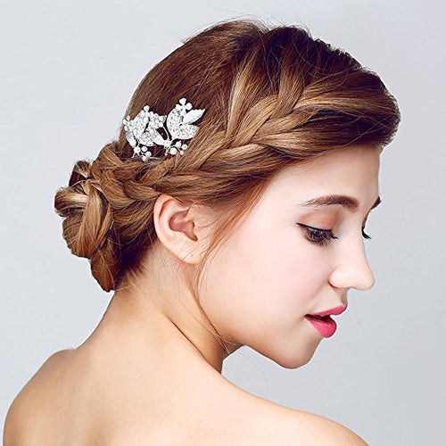 Silver-tone Rhinestone Bridal Hair Pins Wedding Party Hair Jewelry