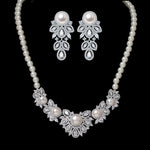 Simulated Pearl and CZ Silvertone Floral Necklace and Earrings Jewelry Sets