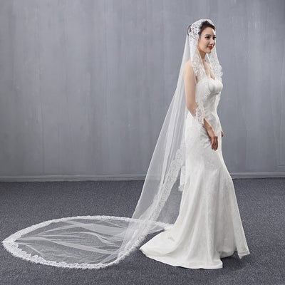 Soft Tulle Plus Size Cathedral Wedding Bridal Veil Lace Applique