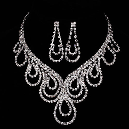 Sparking Prom Wedding Bridal Jewelry Crystal Necklace Earring Set
