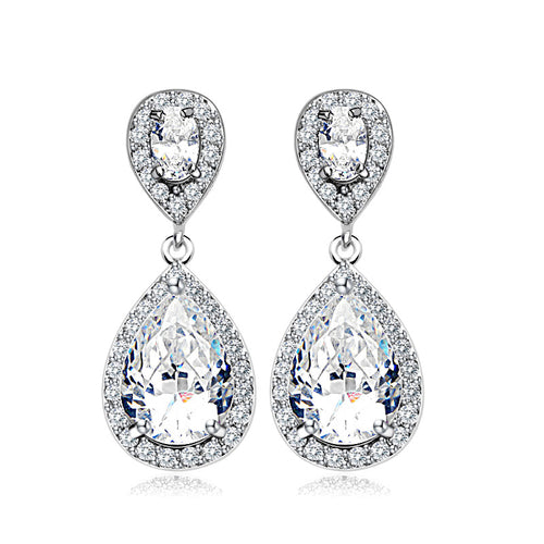 Teardrop Halo Cubic Zirconia CZ Dangle Drop Earrings for Women