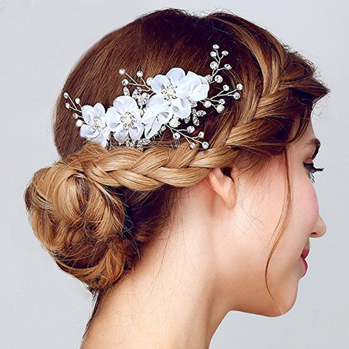 Tulle Flower Silver-tone Beading Hair Comb Hair Accessories