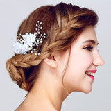 Tulle Flower Silver-tone Hair Comb bridal comb