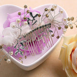 Tulle Flower Beading Hair Comb bridal head pieces