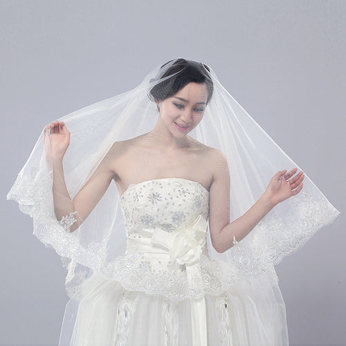 Tulle Sheer Long Bridal Wedding Veils Light Ivory