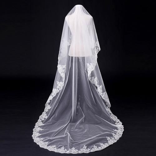 Tulle Sheer Long Bridal Wedding Veils Light Ivory Faybox
