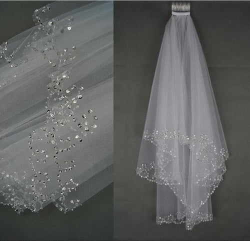 Two Tiers Wedding Bridal Veil Beaded Scrollwork
