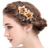 Vintage Gold Hair Clips Bridal Simulated Pearls wedding hair clips