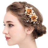 Vintage Gold Hair Clips Bridal Simulated Pearls Wedding Hair Accessories