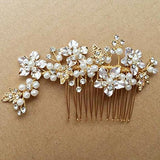 Vintage Gold Twig Crystal Pearl Side Combs Bridal Headpiece wedding hair accessories