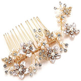 Vintage Gold Twig Crystal Pearl Side Combs Bridal Headpiece bridal hair combs