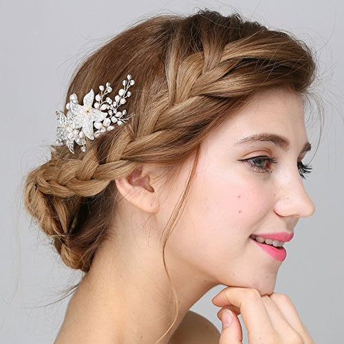 Vintage Hair Comb Crystal Pearl Flower Slides Wedding Accessories