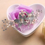 Vintage Hair Comb Crystal Pearl Flower Slides flower hair pieces
