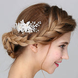Vintage Hair Comb Crystal Pearl Flower Slides bridal head pieces