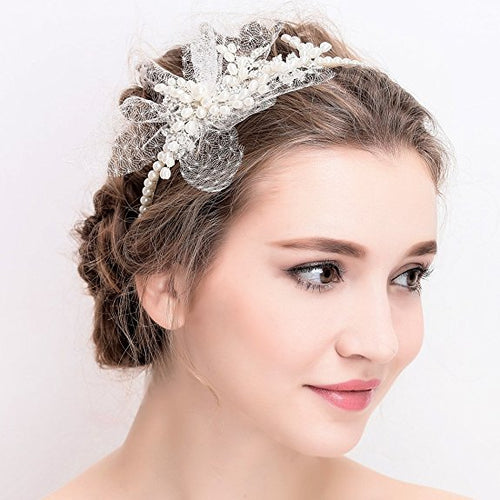 Vintage Ivory Bridal Tiara Rhinestone Pearl Headband Wedding Prom Hair Accessories