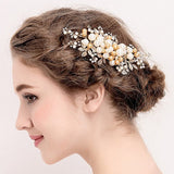 Vintage Simulated Pearls Gold Hair Clips Wedding Hair Accessories